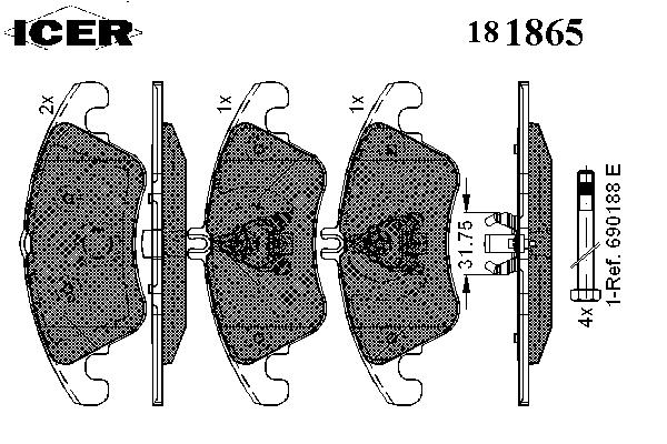 Тормозные колодки ICER 181865