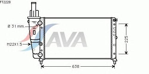 Радиатор, охлаждение двигателя AVA QUALITY COOLING FT2228