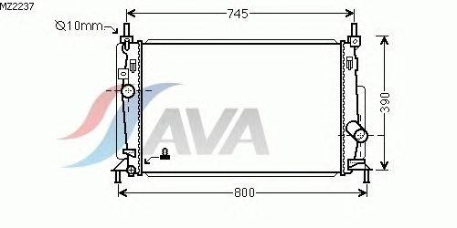 Радиатор, охлаждение двигателя AVA QUALITY COOLING MZ2237