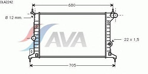 Радиатор, охлаждение двигателя AVA QUALITY COOLING OLA2242