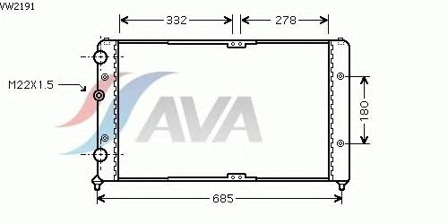 Радиатор, охлаждение двигателя AVA QUALITY COOLING VW2191