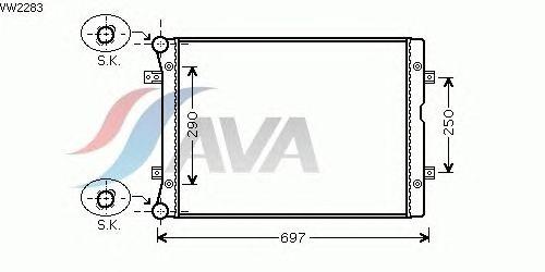 Радиатор, охлаждение двигателя AVA QUALITY COOLING VW2283