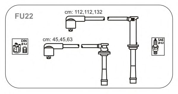 Комплект высоковольтных проводов JANMOR FU22