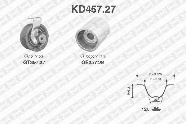 Комплект ремня ГРМ SNR KD457.27