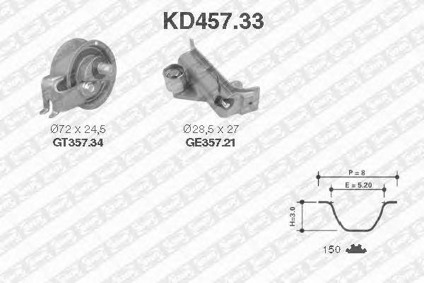 Комплект ремня ГРМ SNR KD457.33