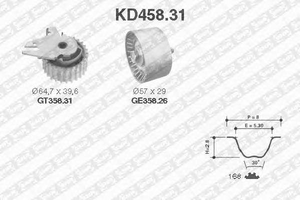 Комплект ремня ГРМ SNR KD458.31