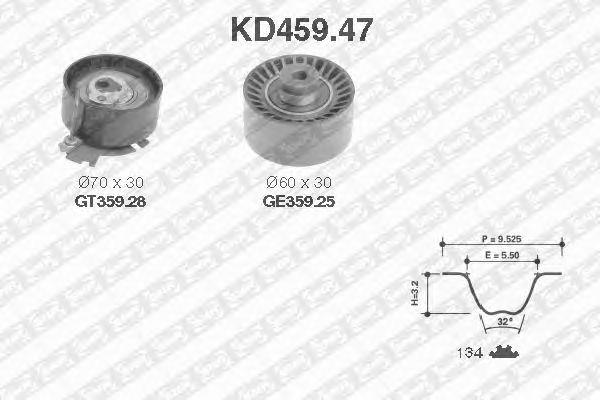 Комплект ремня ГРМ SNR KD459.47