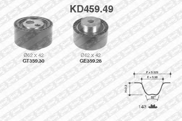 Комплект ремня ГРМ SNR KD459.49