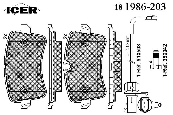 Тормозные колодки ICER 181986-203