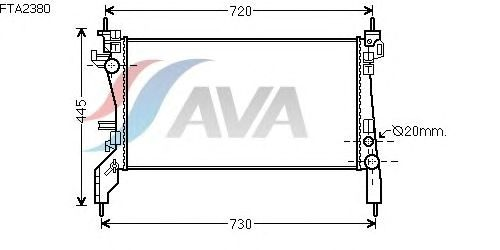 Радиатор, охлаждение двигателя AVA QUALITY COOLING FTA2380
