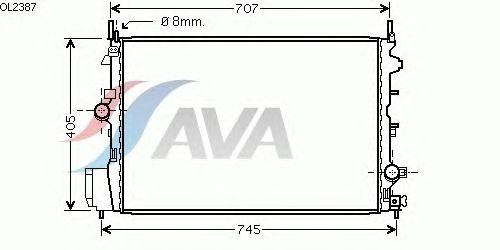 Радиатор, охлаждение двигателя AVA QUALITY COOLING OL2387