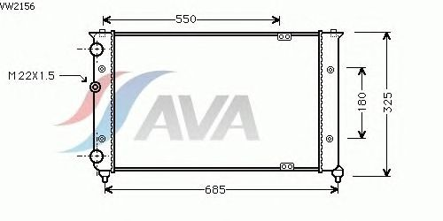 Радиатор, охлаждение двигателя AVA QUALITY COOLING VW2156