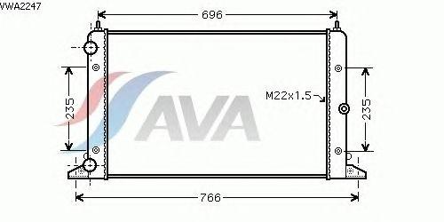 Радиатор, охлаждение двигателя AVA QUALITY COOLING VWA2247