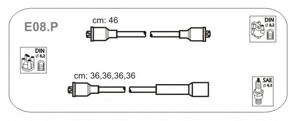 Комплект высоковольтных проводов JANMOR E08.P