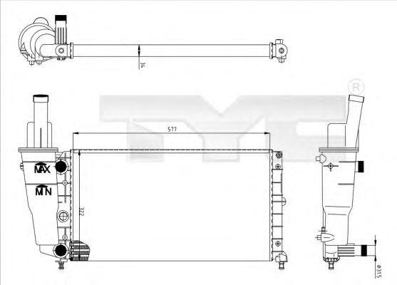 Радиатор, охлаждение двигателя TYC 709-0007