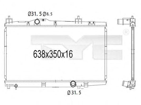 Радиатор, охлаждение двигателя TYC 736-1008
