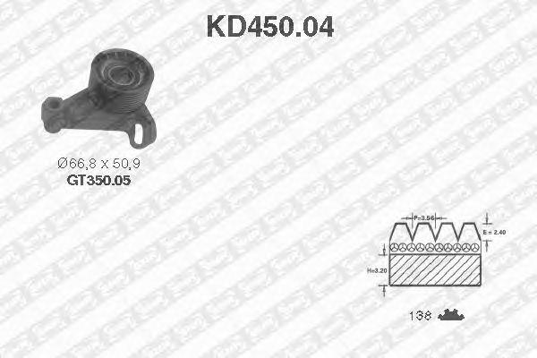Комплект ремня ГРМ SNR KD450.04