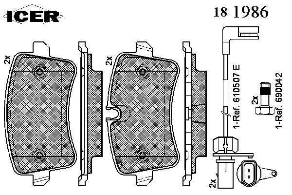 Тормозные колодки ICER 181986