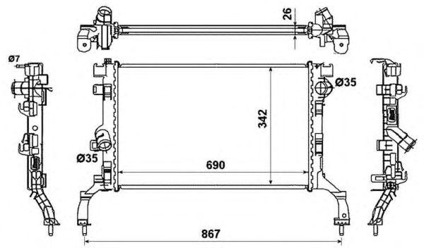 Радиатор, охлаждение двигателя NRF 53967