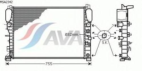 Радиатор, охлаждение двигателя AVA QUALITY COOLING MSA2342