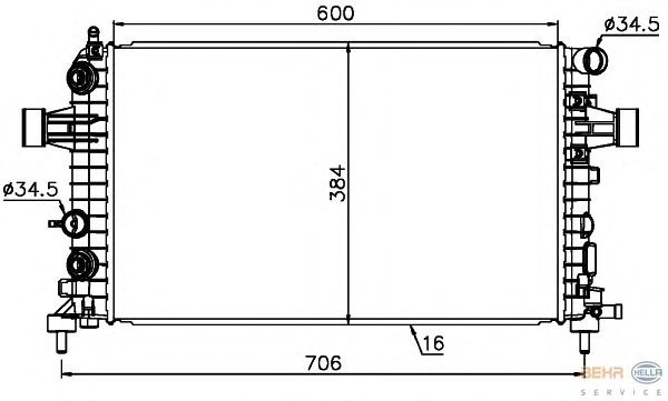 Радиатор, охлаждение двигателя BEHR HELLA SERVICE 8MK 376 745-771