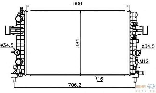 Радиатор, охлаждение двигателя BEHR HELLA SERVICE 8MK 376 754-081
