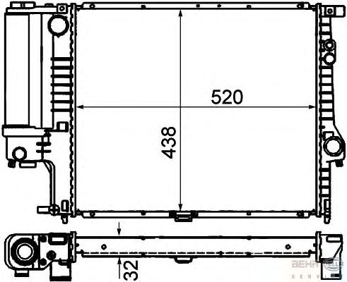 Радиатор, охлаждение двигателя BEHR HELLA SERVICE 8MK 376 888-134 BEHR HELLA SERVICE Version ALTERNATIVE