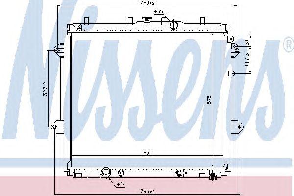 Радиатор, охлаждение двигателя NISSENS 646825