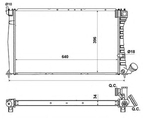 Радиатор, охлаждение двигателя NRF 509601