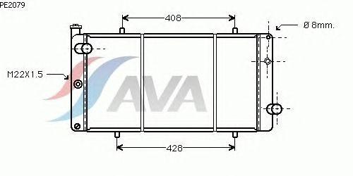 Радиатор, охлаждение двигателя AVA QUALITY COOLING PE2079