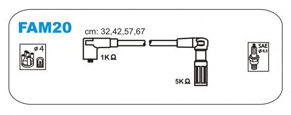 Комплект высоковольтных проводов JANMOR FAM20