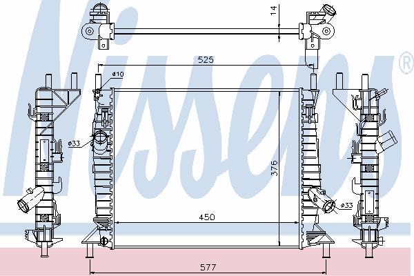 Радиатор, охлаждение двигателя NISSENS 62112