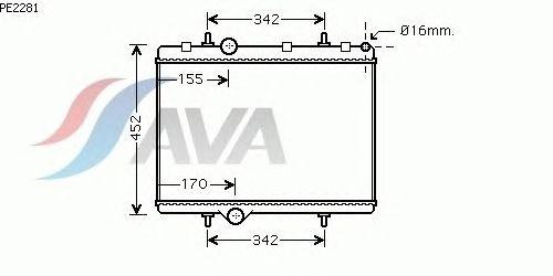 Радиатор, охлаждение двигателя AVA QUALITY COOLING PE2281