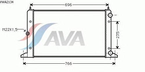 Радиатор, охлаждение двигателя AVA QUALITY COOLING VWA2134