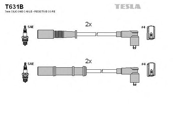 Комплект высоковольтных проводов TESLA T631B