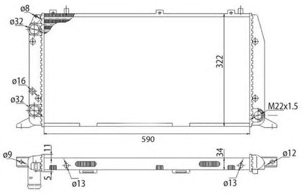 Радиатор, охлаждение двигателя MAGNETI MARELLI 350213401003