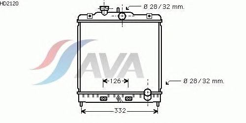 Радиатор, охлаждение двигателя AVA QUALITY COOLING HD2120