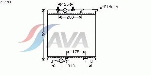 Радиатор, охлаждение двигателя AVA QUALITY COOLING PE2298