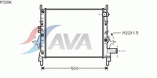 Радиатор, охлаждение двигателя AVA QUALITY COOLING RT2206