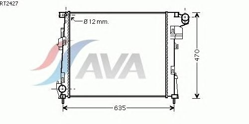 Радиатор, охлаждение двигателя AVA QUALITY COOLING RT2427