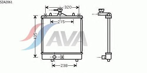 Радиатор, охлаждение двигателя AVA QUALITY COOLING SZA2061