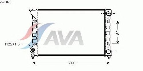 Радиатор, охлаждение двигателя AVA QUALITY COOLING VW2072