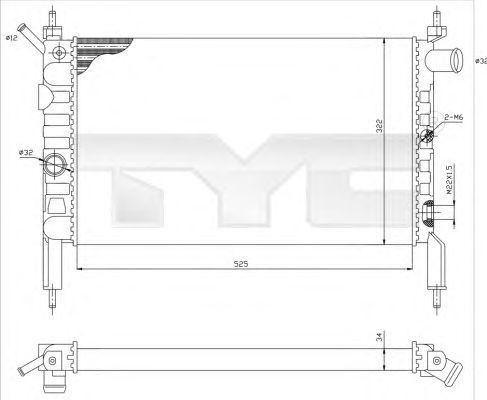 Радиатор, охлаждение двигателя TYC 725-0018