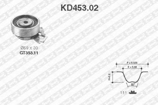 Комплект ремня ГРМ SNR KD453.02