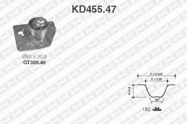 Комплект ремня ГРМ SNR KD455.47
