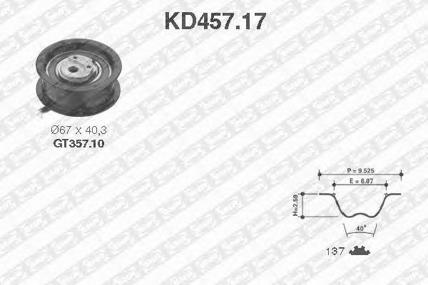 Комплект ремня ГРМ SNR KD457.17