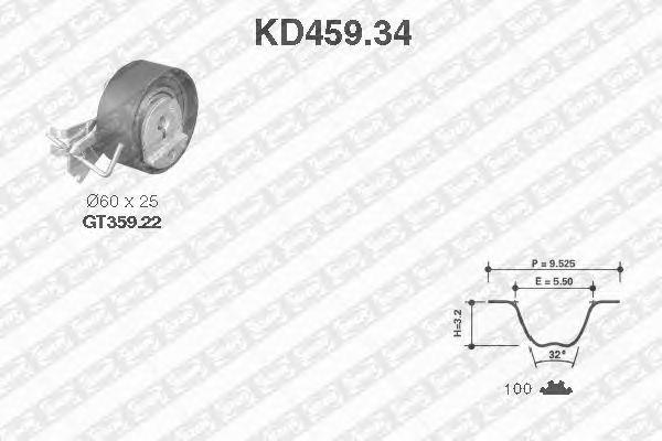 Комплект ремня ГРМ SNR KD459.34