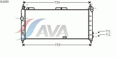 Радиатор, охлаждение двигателя AVA QUALITY COOLING OL2203
