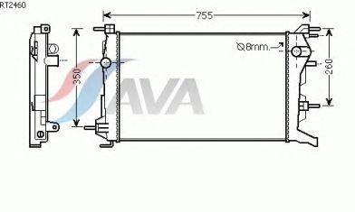 Радиатор, охлаждение двигателя AVA QUALITY COOLING RT2460