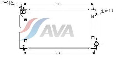 Радиатор, охлаждение двигателя AVA QUALITY COOLING TOA2386